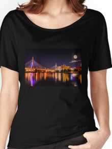Moon light over Zakim bridge Women's Relaxed Fit T-Shirt