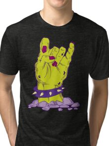 Green zombie hand with bracelet Tri-blend T-Shirt
