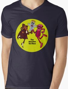 Saturday Morning Disco Dancing Cereal Monsters Mens V-Neck T-Shirt