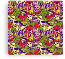 Halloween pattern with skulls, bones and zombies Canvas Print