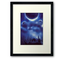 Fantastic Landscape With Planets 2 Framed Print