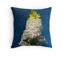 White Foxglove flowers on texture Throw Pillow