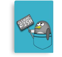Pocket penguin wants fish Canvas Print