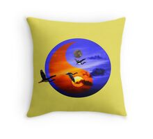 Sunset and herons in fly Throw Pillow