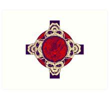 Cross with skulls and snake Art Print
