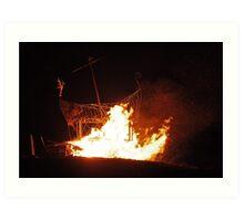 Ship on fire Art Print