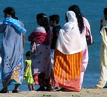 Family Outing, Locals on the Beach enjoying the sun, Sri Lanka  by suellewellyn