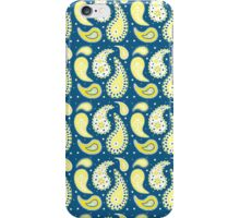 Blue yellow paisley iPhone Case/Skin