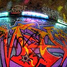 Graffiti, orange and purple by Guy Carpenter