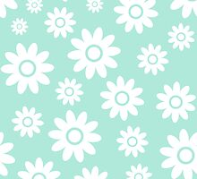 Mint Fun daisy style flower pattern by ImageNugget