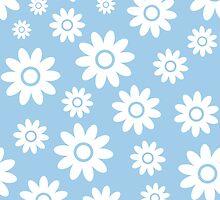 Light Blue Fun daisy style flower pattern by ImageNugget