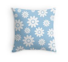 Light Blue Fun daisy style flower pattern Throw Pillow