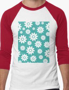 Teal Fun daisy style flower pattern Men's Baseball ¾ T-Shirt
