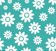 Teal Fun daisy style flower pattern by ImageNugget
