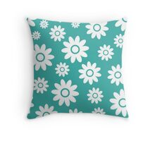 Teal Fun daisy style flower pattern Throw Pillow