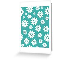 Teal Fun daisy style flower pattern Greeting Card