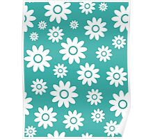 Teal Fun daisy style flower pattern Poster