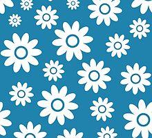 Blue Fun daisy style flower pattern by ImageNugget
