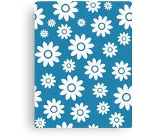 Blue Fun daisy style flower pattern Canvas Print