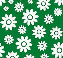 Green Fun daisy style flower pattern by ImageNugget