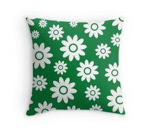 Green Fun daisy style flower pattern Throw Pillow
