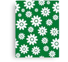 Green Fun daisy style flower pattern Canvas Print