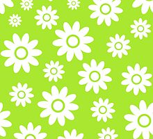 Lime Green Fun daisy style flower pattern by ImageNugget