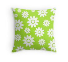 Lime Green Fun daisy style flower pattern Throw Pillow