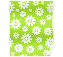 Lime Green Fun daisy style flower pattern Poster