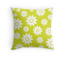 Chartreuse Fun daisy style flower pattern Throw Pillow