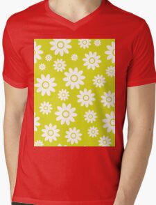 Chartreuse Fun daisy style flower pattern Mens V-Neck T-Shirt