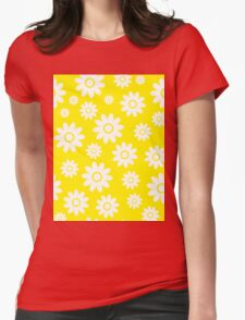 Yellow Fun daisy style flower pattern Womens Fitted T-Shirt