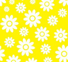 Yellow Fun daisy style flower pattern by ImageNugget
