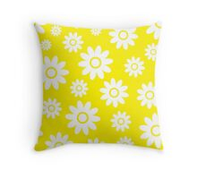 Yellow Fun daisy style flower pattern Throw Pillow