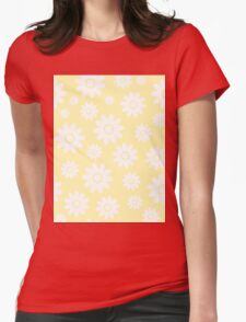 Cream Fun daisy style flower pattern Womens Fitted T-Shirt