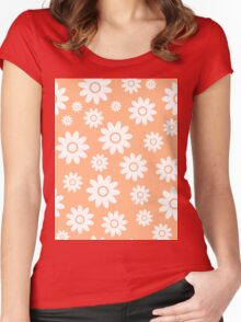 Peach Fun daisy style flower pattern Women's Fitted Scoop T-Shirt