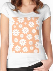 Peach Fun daisy style flower pattern Women's Fitted Scoop T-Shirt