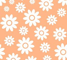 Peach Fun daisy style flower pattern by ImageNugget
