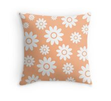 Peach Fun daisy style flower pattern Throw Pillow