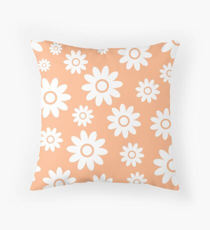 Peach Fun daisy style flower pattern Throw Pillow