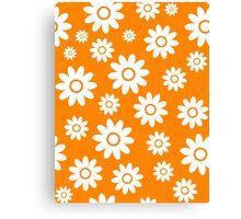 Orange Fun daisy style flower pattern Canvas Print