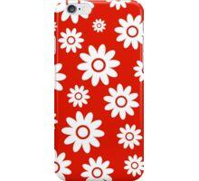 Red Fun daisy style flower pattern iPhone Case/Skin