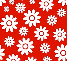 Red Fun daisy style flower pattern by ImageNugget