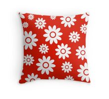 Red Fun daisy style flower pattern Throw Pillow