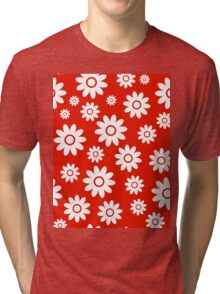 Red Fun daisy style flower pattern Tri-blend T-Shirt
