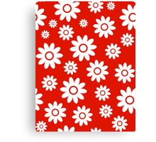 Red Fun daisy style flower pattern Canvas Print