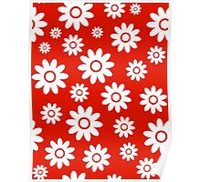 Red Fun daisy style flower pattern Poster