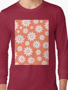 Coral Fun daisy style flower pattern Long Sleeve T-Shirt