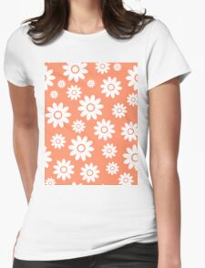 Coral Fun daisy style flower pattern Womens Fitted T-Shirt