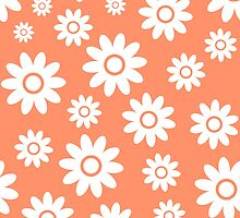 Coral Fun daisy style flower pattern by ImageNugget